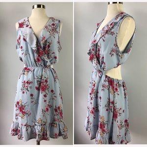 Peach Love California Floral Cut Out Dress NEW